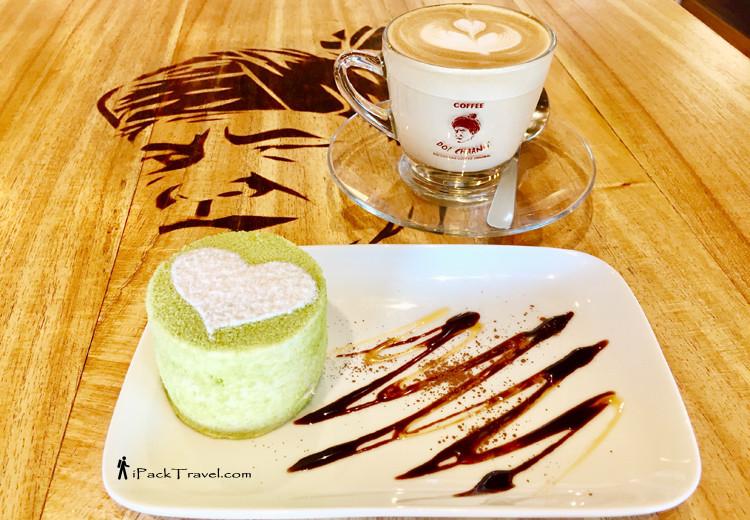 Coffee with Azuki Matcha cake