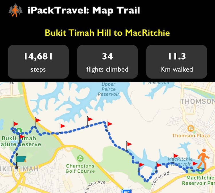 Map 7km trail with iPackTravel