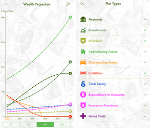 MyWealth projects wealth in 50 years time
