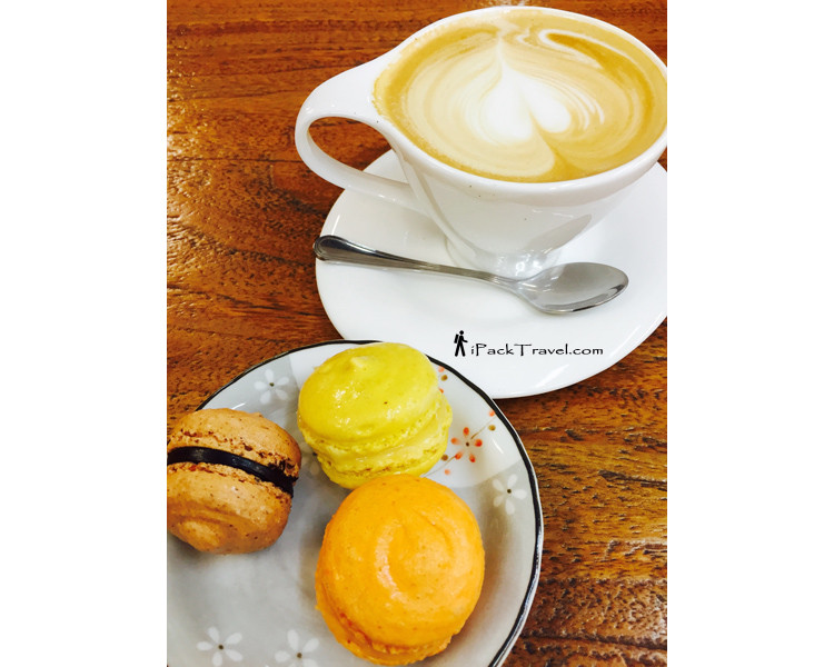 Coffee & macarons at Rainforest Coffee Bean