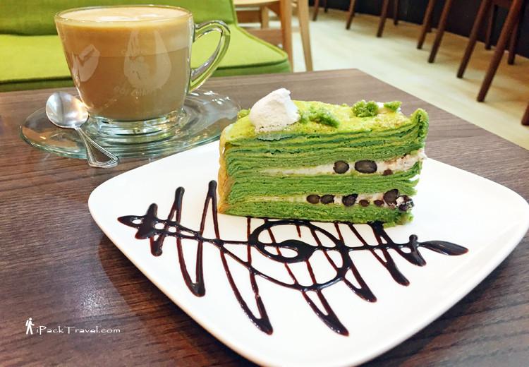 coffee with matcha crepe cake