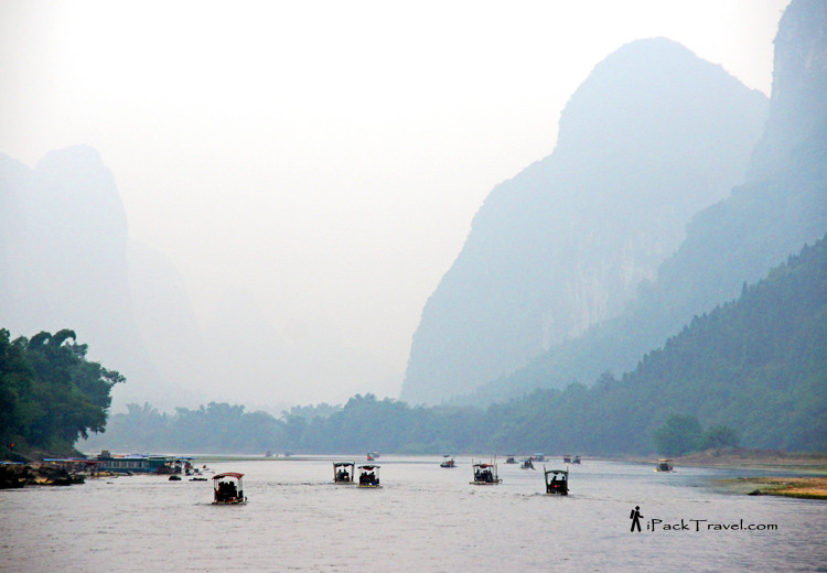 Many rafts on the river