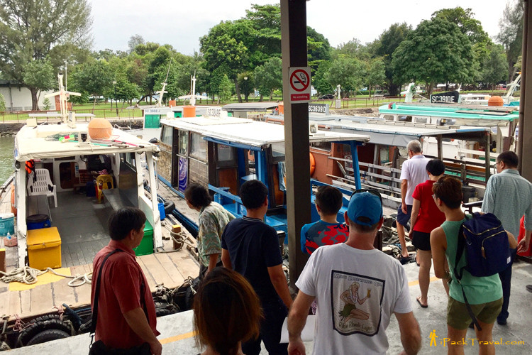 Boarding bum boat to Pulau Ubin