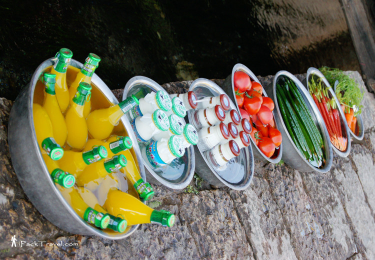 Refreshments cooled in river water