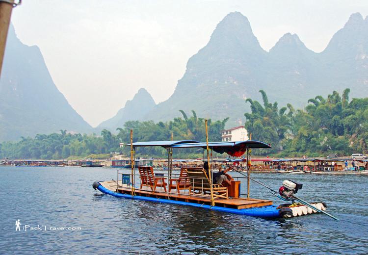 A motorised bamboo raft