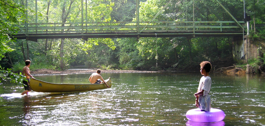 People recreating on the Little Cahaba River