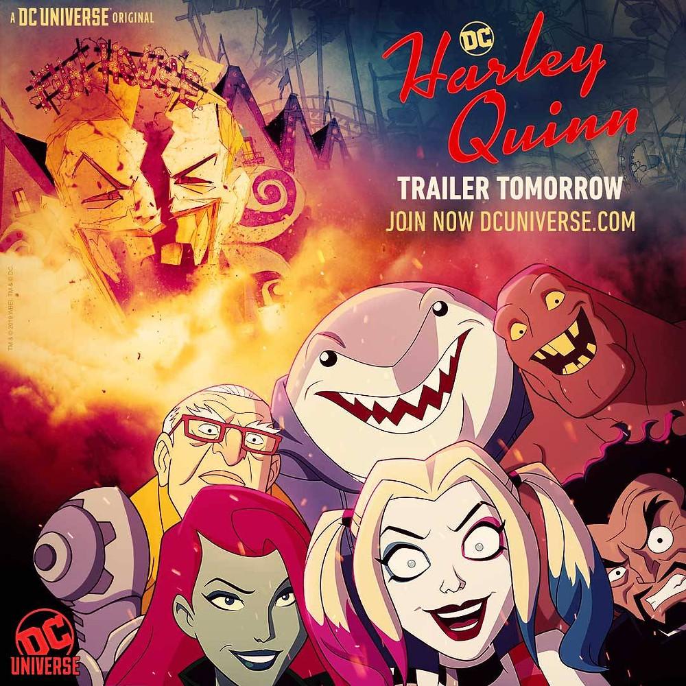 Pôster oficial da série mostrando a Arlequina, ou Harley Quinn, personagem principal e outros personagens importantes