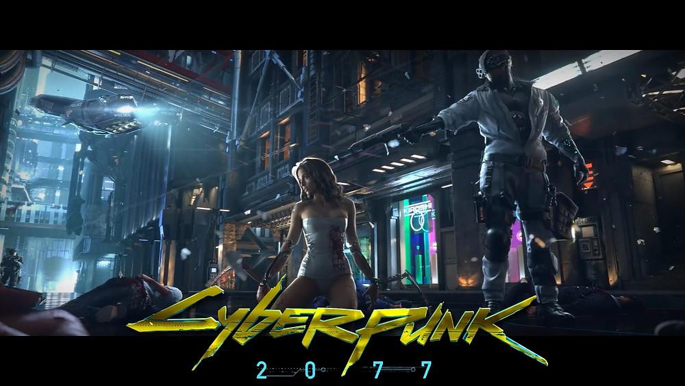 A imagem mostra um dos pôsters de divulgação do Cyberpunk 2077 que agora revelou os requisitos para jogar no PC