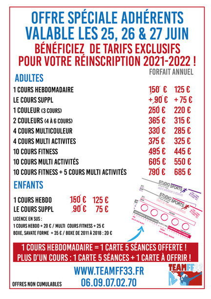 offre tarif spéciale juin inscription202