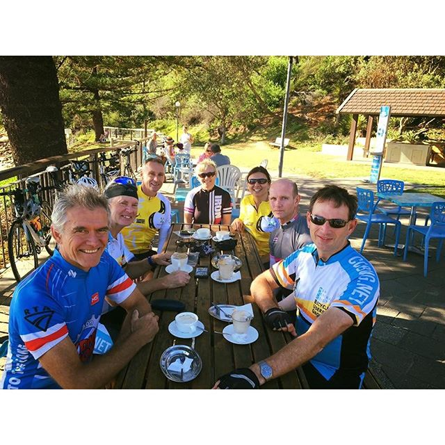 Time for a coffee.... Awesome ride this morning with Andrew & the crew