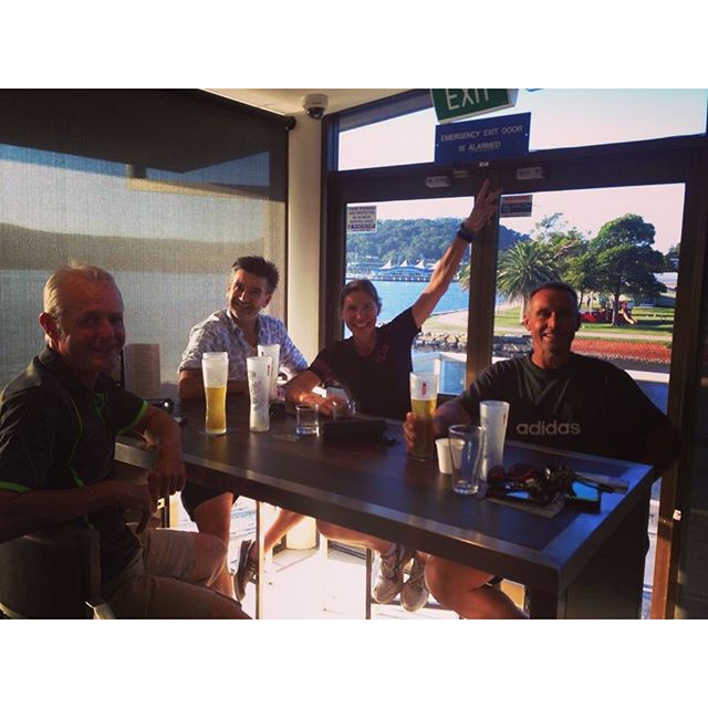 We know how to relax after a hot ride too... Post ride bevvie with the troops from the Gosford to Wo