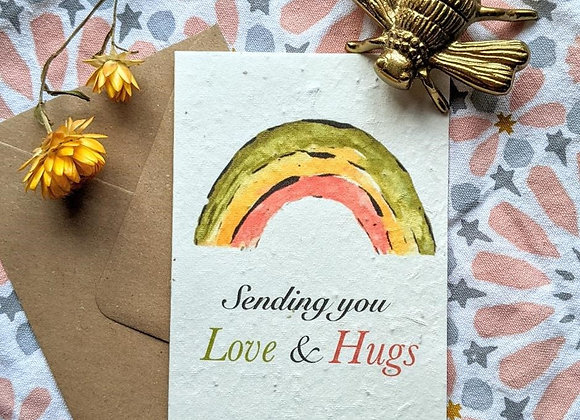 'Sending You Love & Hugs' Rainbow Plantable Card