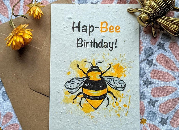 'Hap-Bee Birthday' Plantable  Birthday Card