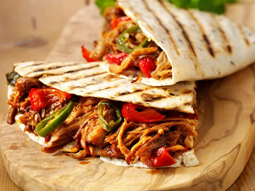 Pulled Pork Quesadillas with goats cheese