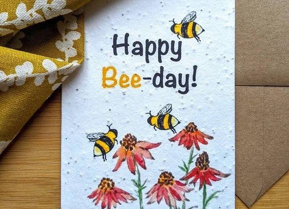 'Happy Bee-Day' Plantable Birthday Card