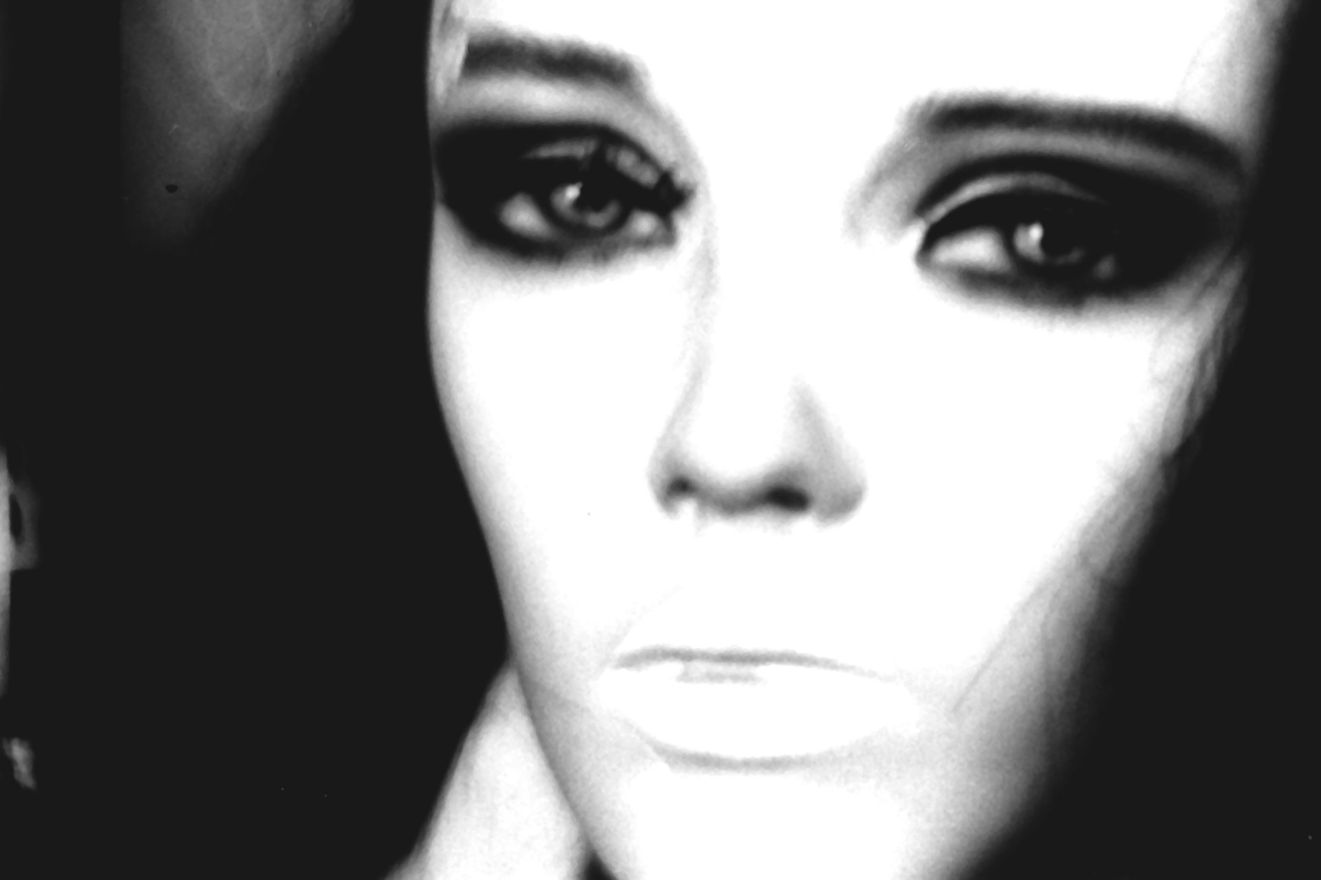 face blurry black and white