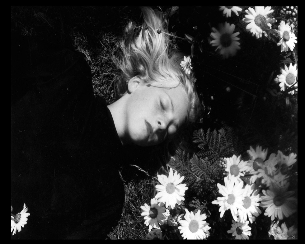 young female becoming flowers garden pure kind sleep nap