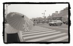 street city woman pedestrain car