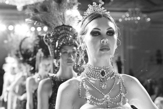 fashion model jewelry makeup costume headdress runway catwalk
