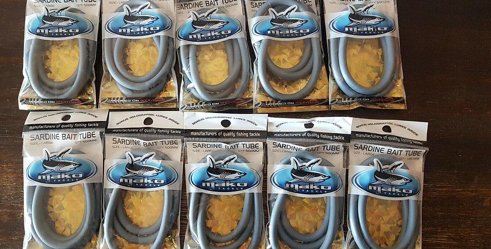 10 x Mako Tackle Large Sardine Bait Tubes + Bonus Holographic Lures