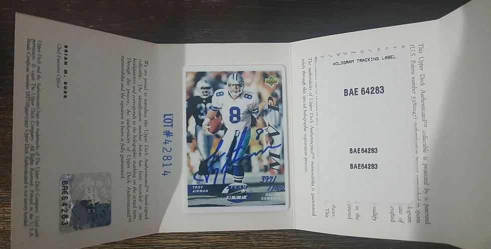 RARE Upper Deck Ceramic Card Troy Aikman MVP NFL HOF Dallas Cowboys Auto Signed