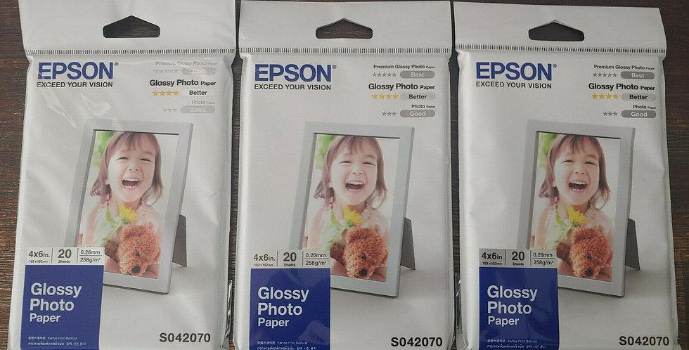 "3 Packs x 20 Sheets Genuine Epson Glossy Photo Paper 4x6"""