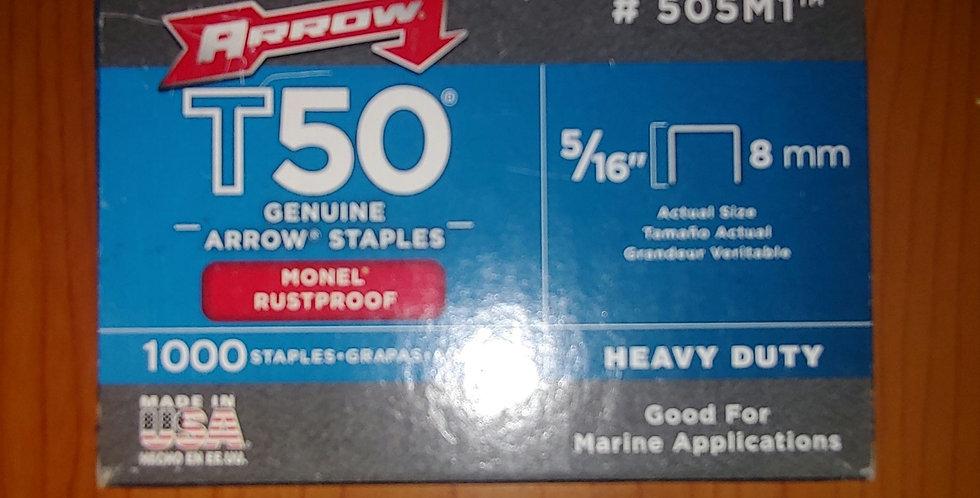 "Genuine Arrow T50 Heavy Duty Monel Rustproof 1000 Staples Pack - 8mm 5/16"""