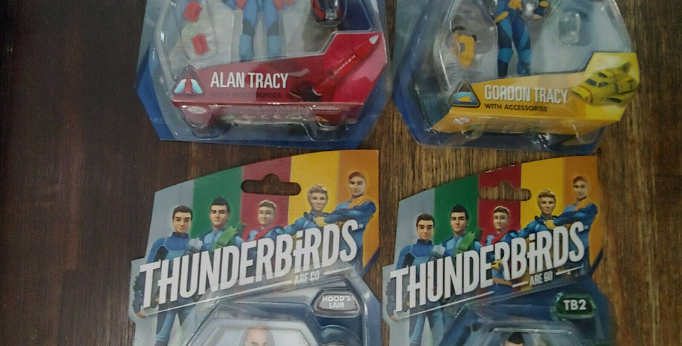 4 x 2015 Thunderbirds Are Go Action Figures Alan Virgil Gordon Tracy + The Hood