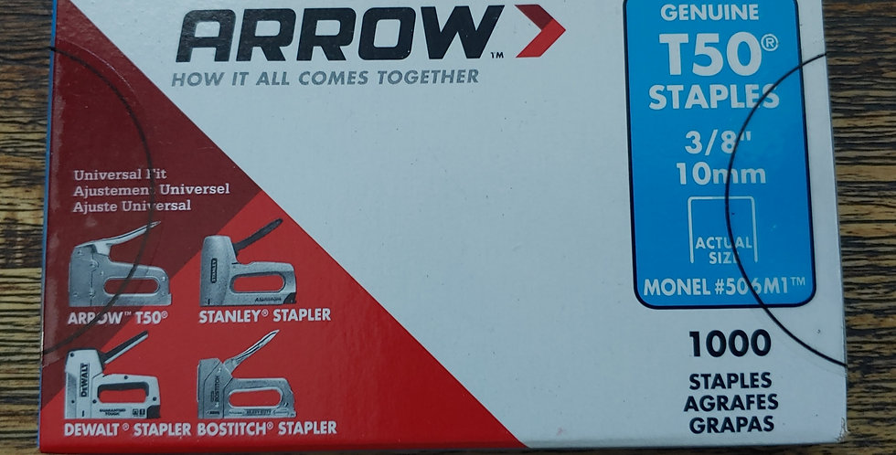 "Arrow T50 Staples 3/8"" 10mm Rustproof MONEL - Marine Grade"