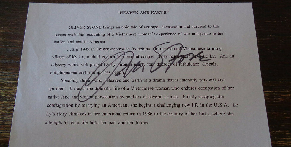 """Oliver Stone Signed """"Heaven & Earth"""" Media Release Unwanted Hollywood Producer"""