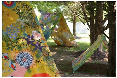 Refuge Meditation Tents  Artina 2017: Washington Sculptors Group at Sandy Spring Museum  5' x 18' Unprimed Canvas Panels
