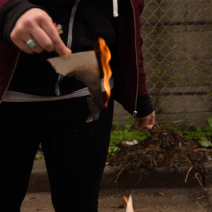 Ending Performance Piece, Burning Remaining Work, Quills On Fire, Hands Holding Burning Page
