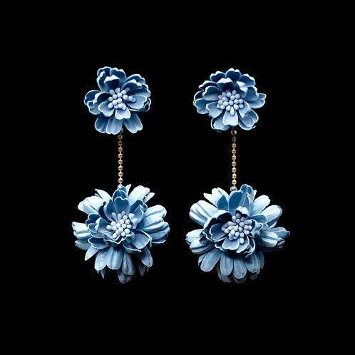 Gerbera Earrings - Blue