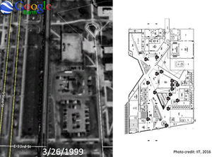 A 1999 Google Earth image (right) of the parking lot that would become the McCormick Tribune Campus Center (left).  Koolhaas and OMA observed student pathways through the parking lot to inform the design of the award-winning building.