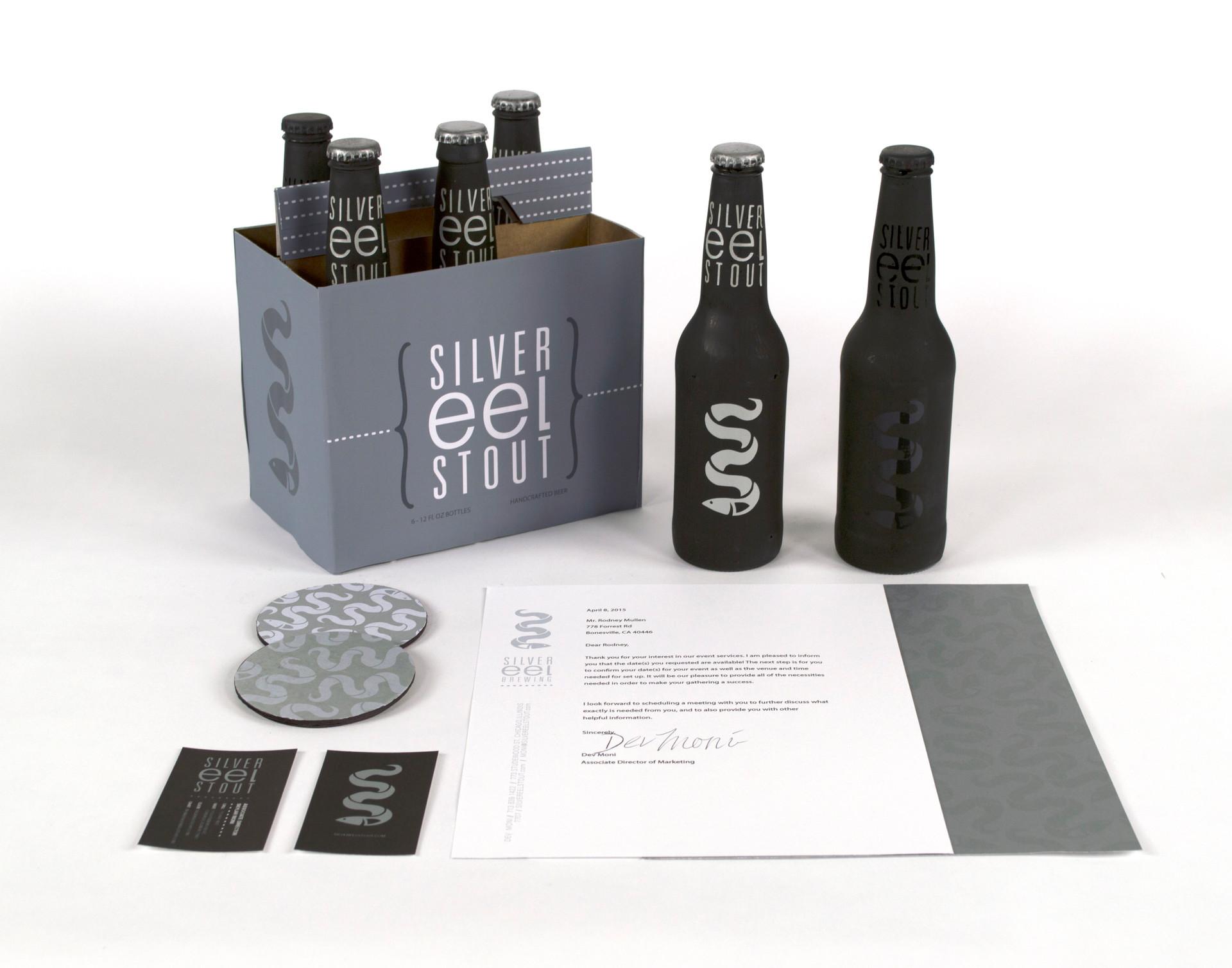 silver eel stout beer branding design