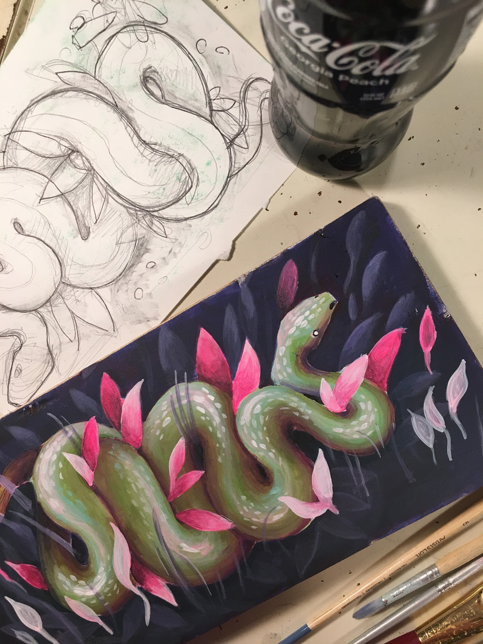 snake painting on panel
