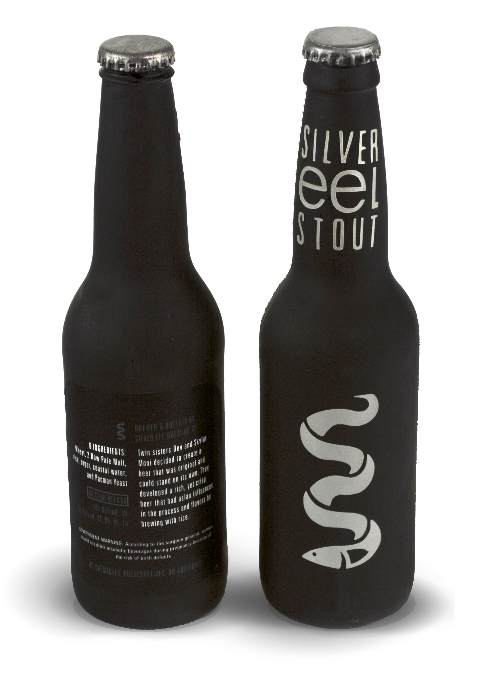 black stout beer bottle design with logo and typography