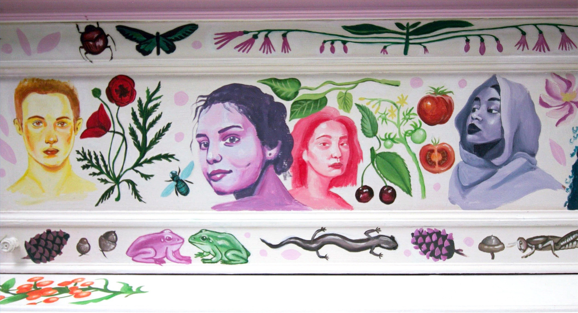 floral and portrait details of custom painted piano by cathryn bozone