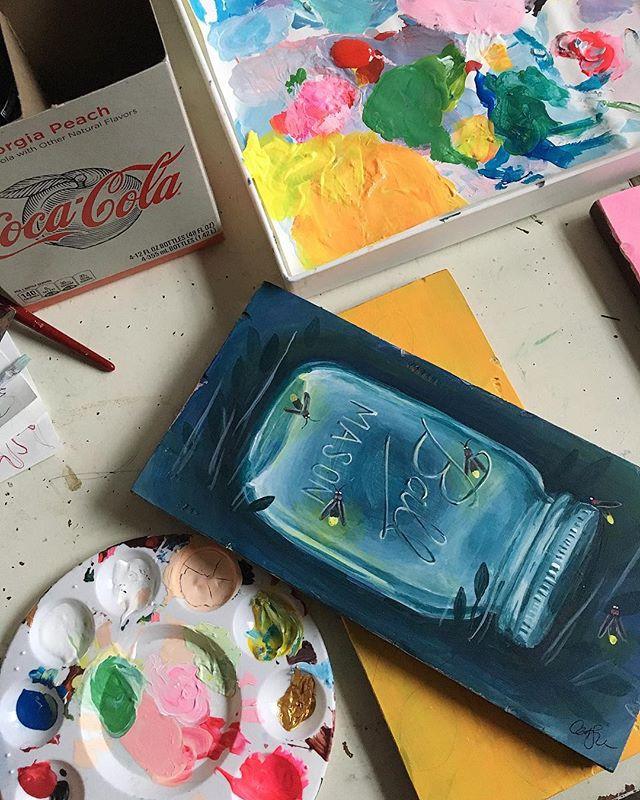Mason jar lightning bug painting