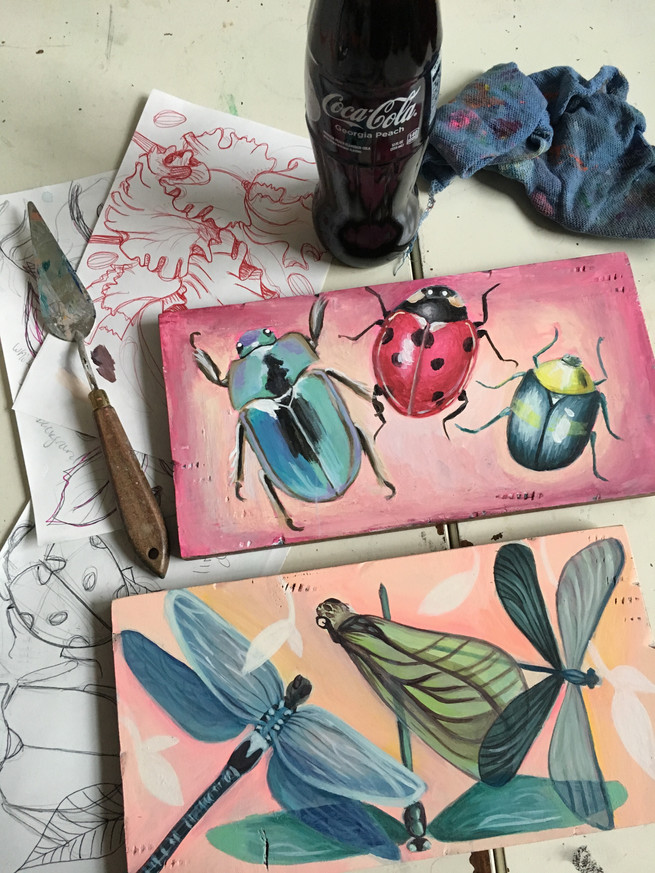 bug paintings on panels with coke