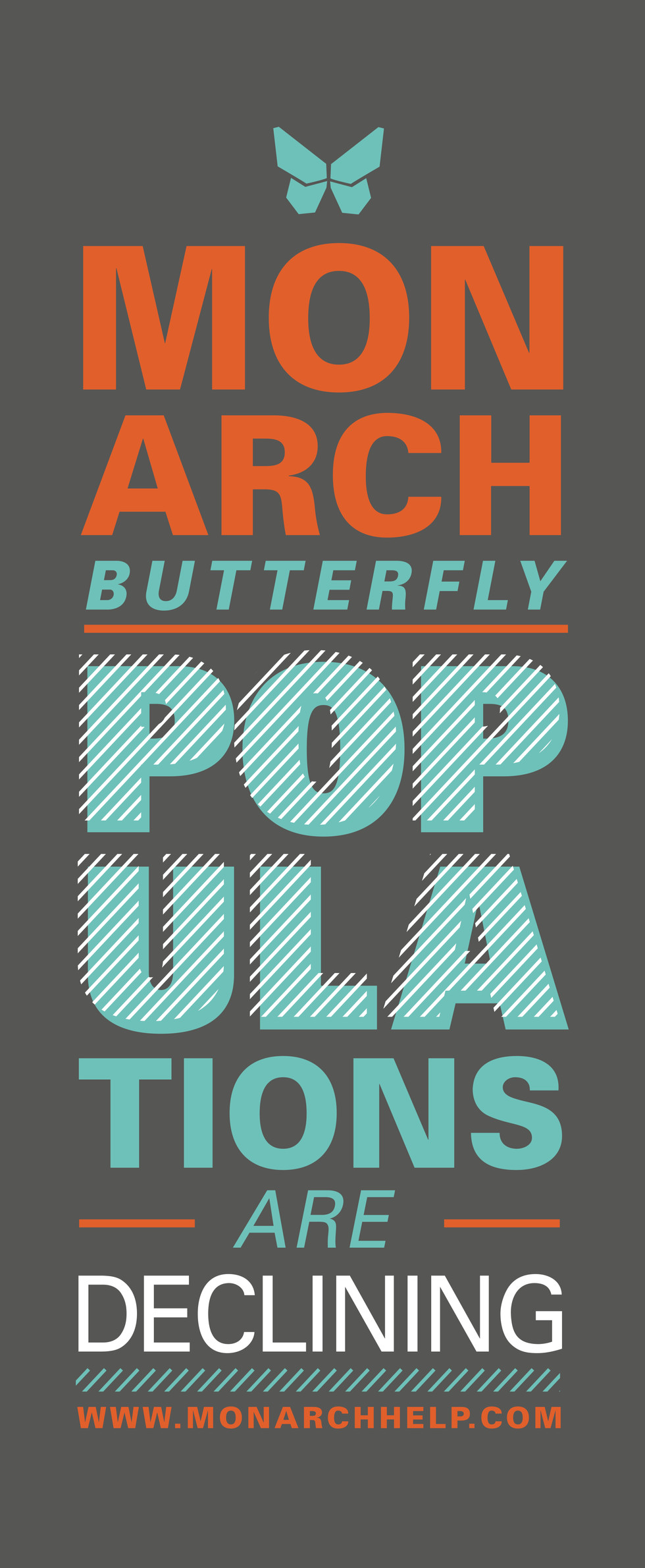 Monarch butterfly awareness typography banner design