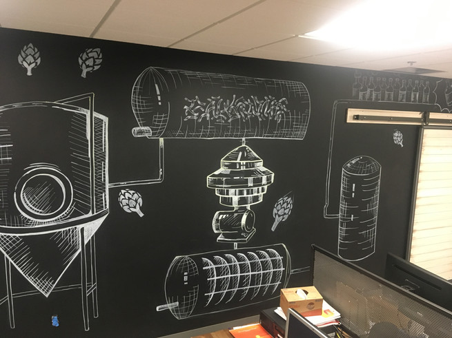 chalkboard mural wall for anheuser-bush by cathryn bozone