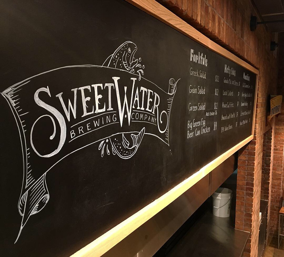 sweetwater brewing company chalkboard logo by cathryn bozone