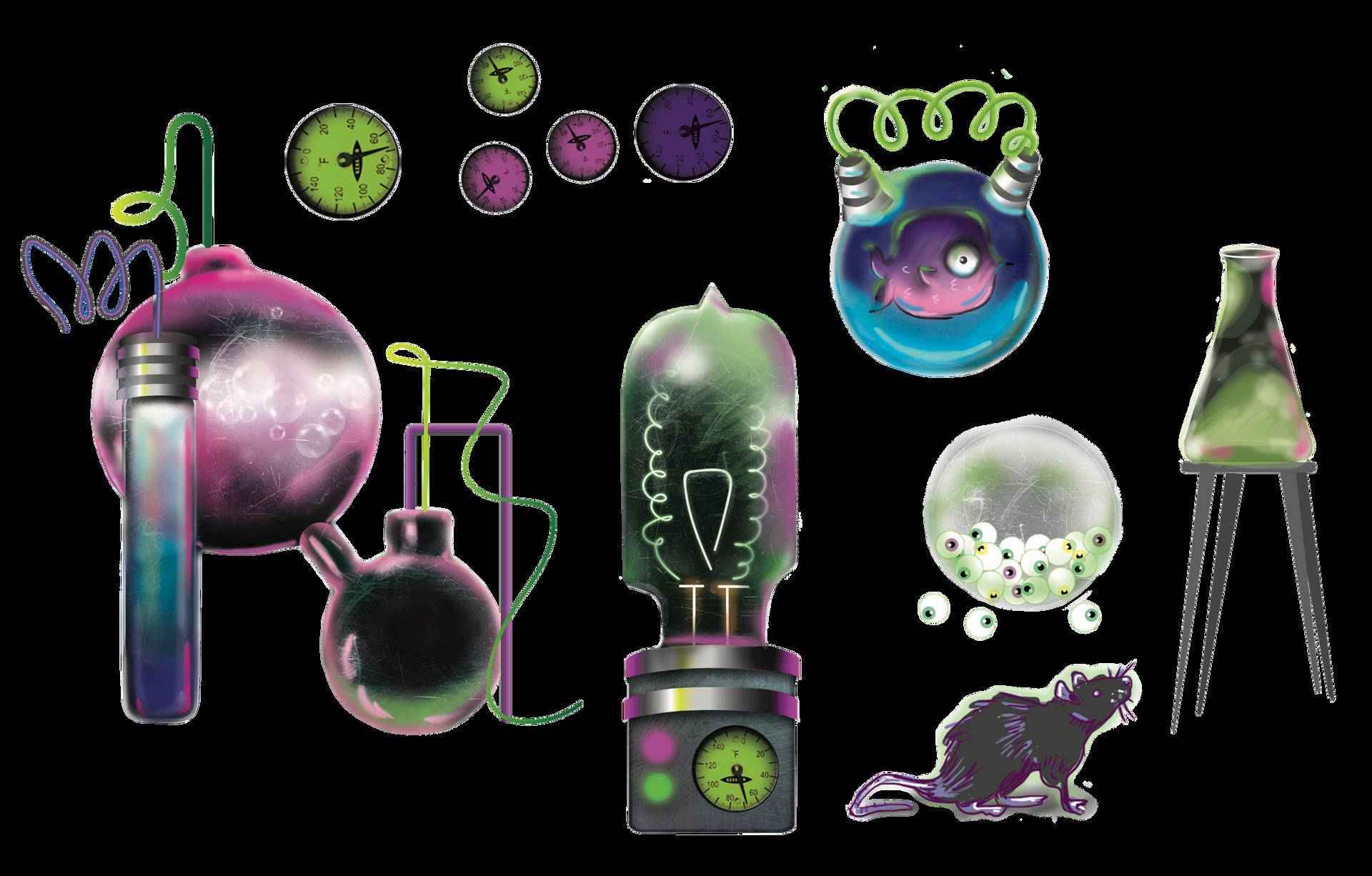 Mad Scientist Digital Art Elements Design For Halloween