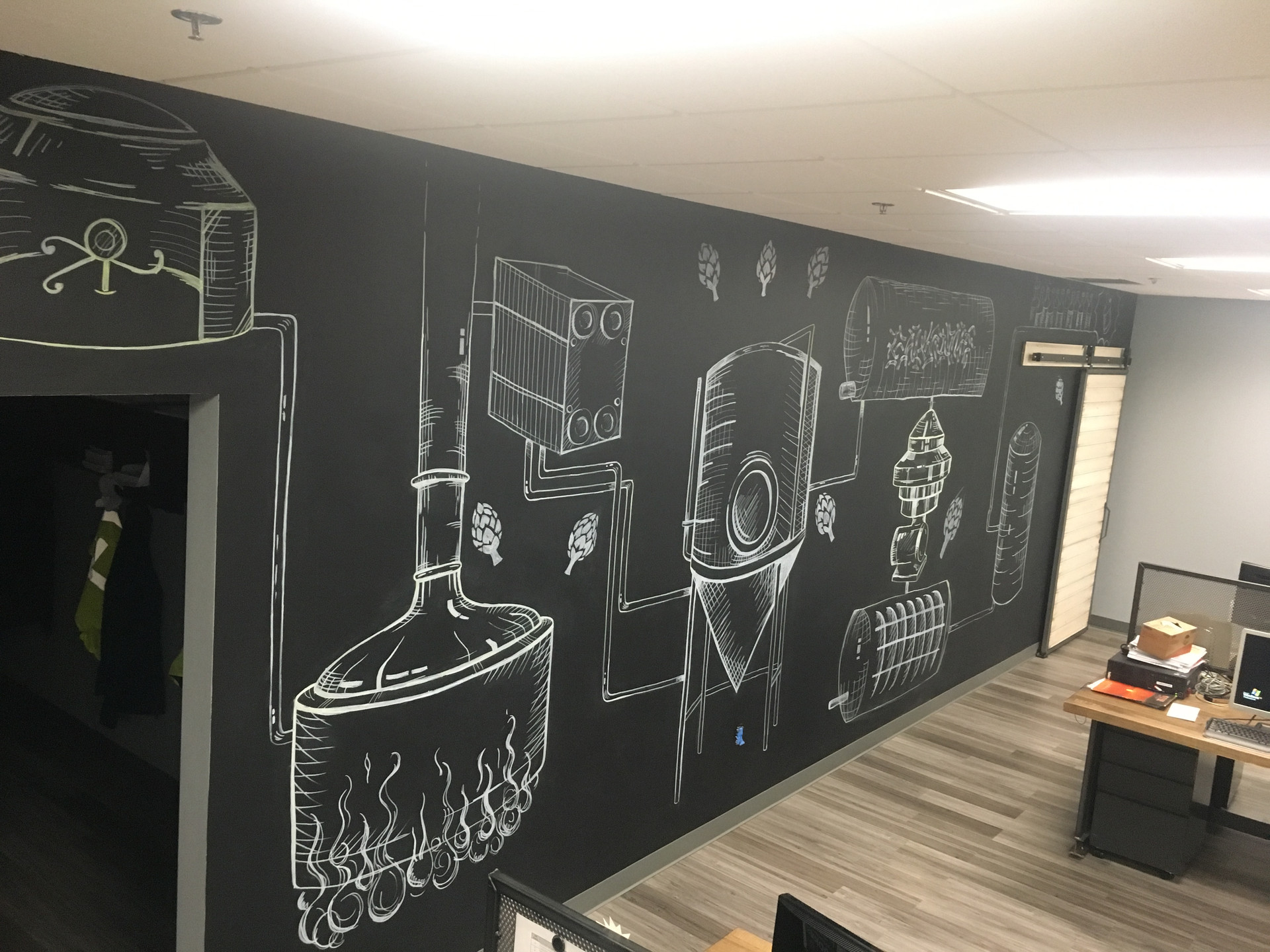 cathryn bozone beer brewing process chalkboard wall for anheuser busch