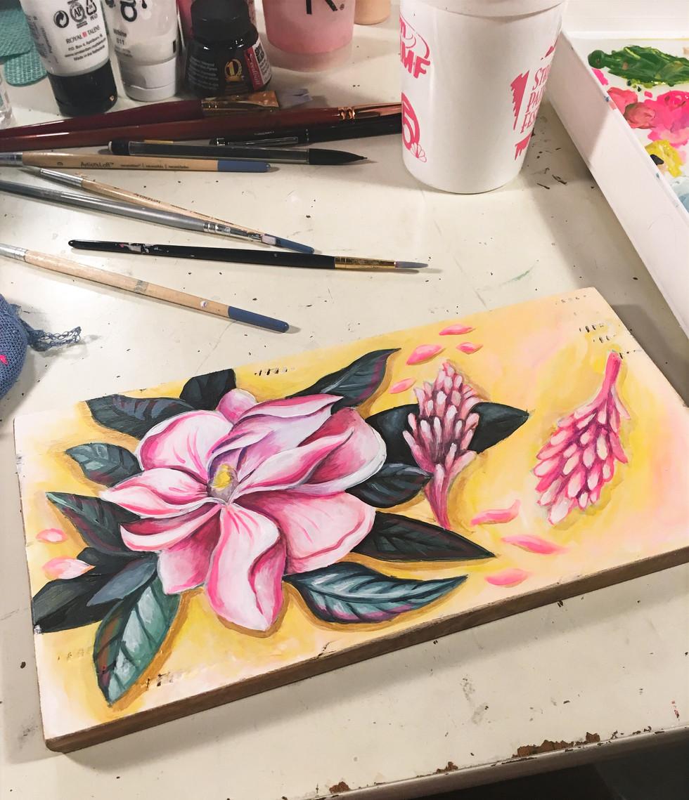 magnolia painting on panel
