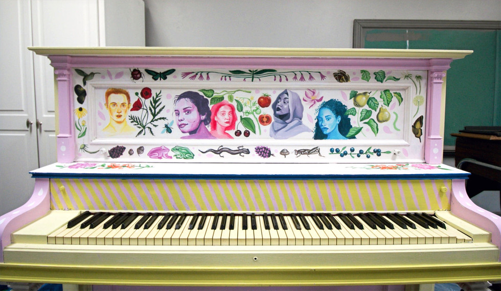 custom painted piano by cathryn bozone