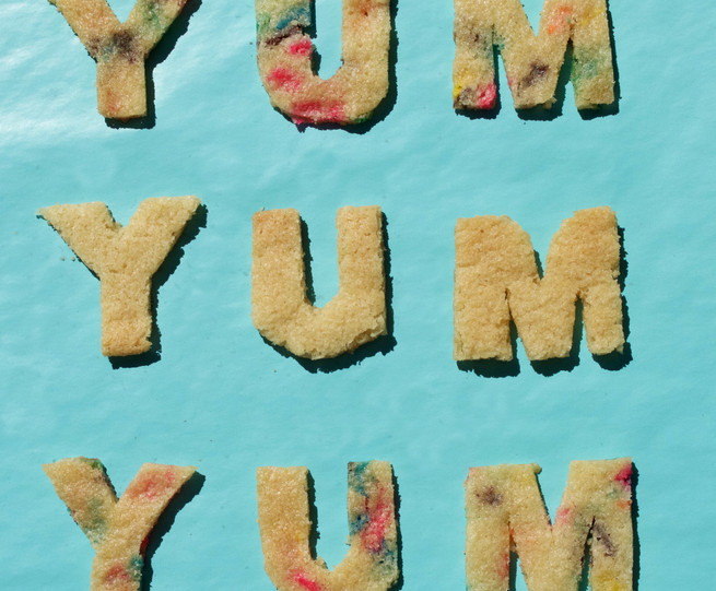 YUM typography with cookies