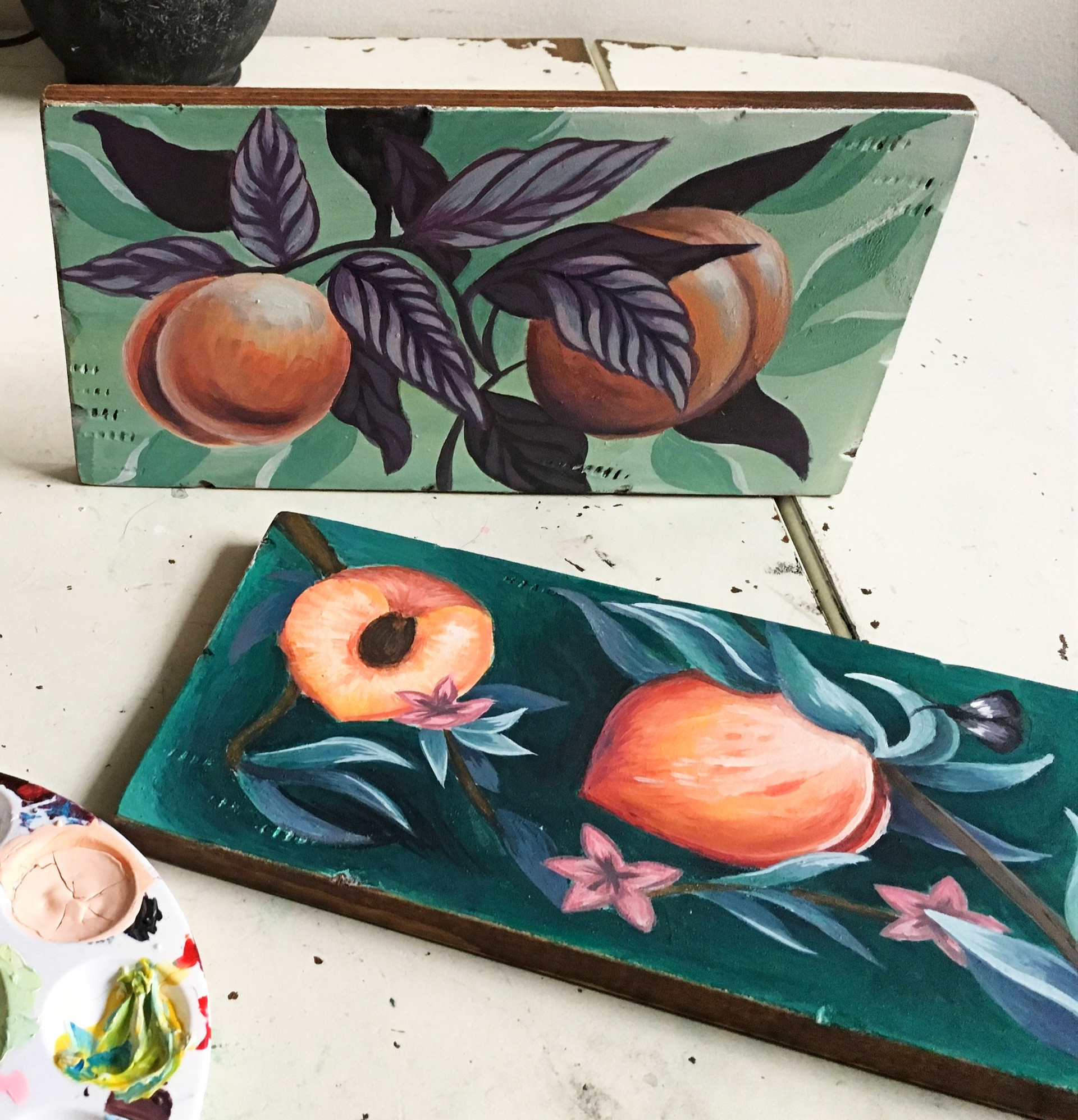 peach paintings on panels