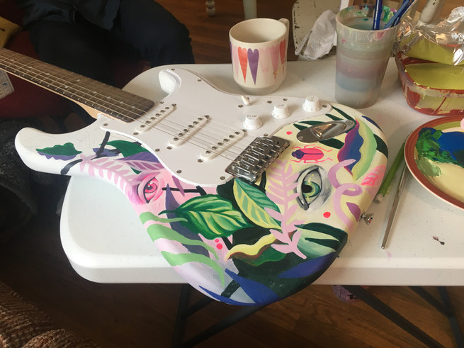 work in progress of cathryn bozone man of the match guitar
